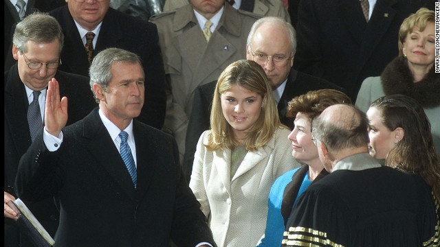 George W. Bush is sworn in for his first term on January 20, 2001.