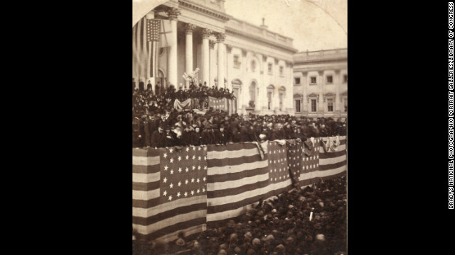 Rutherford B. Hayes takes the oath of office from Chief Justice Morrison R. Waite on the east portico of the U.S. Capitol on March 5, 1877.