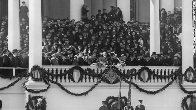 Warren G. Harding is sworn in on March 4, 1921.