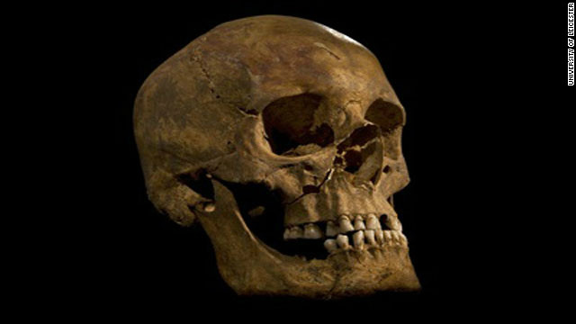 Royal remains: Skull of the skeleton found at the Grey Friars excavation in Leicester