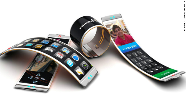 The Philips Fluid concept phone by Brazilian designer Dinard de Mata has a bendy organic light-emitting diode, which means it can be wrapped around the wrist as a watch or bracelet or used like a regular mobile phone.