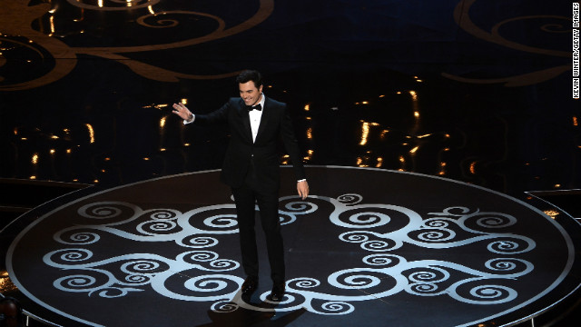 """Oscar host Seth MacFarlane opens the show with a few jokes: """"The quest to make Tommy Lee Jones laugh begins now"""" and """"It's an honor that everyone else said no (to hosting). From Whoopi Goldberg to Ron Jeremy."""""""