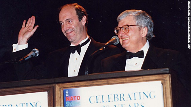 Film critics Gene Siskel, left, and Roger Ebert in 1994. Ebert died on April 4, according to his employer, the Chicago Sun-Times. Ebert had taken a leave of absence on April 2 after a hip fracture was revealed to be cancer.