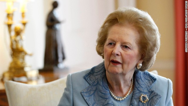 Former Prime Minister Baroness Thatcher talks with British Prime Minister David Cameron inside Number 10 Downing Street on June 8, 2010.