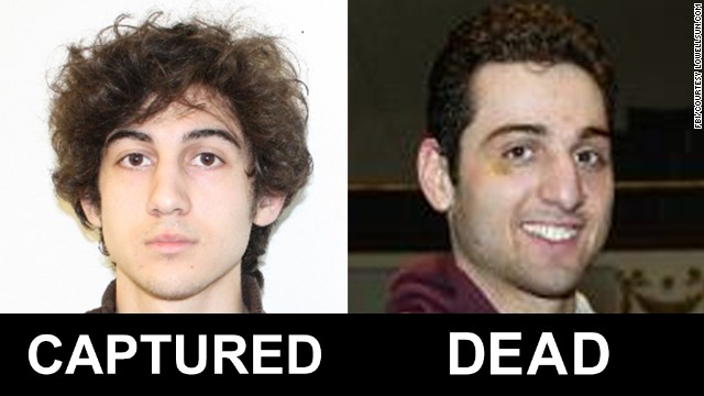 The FBI released photos and video of two men identified as Suspect 1 and Suspect 2 in the deadly bombings at the Boston Marathon. They have been identified as Dzhokhar Tsarnaev, 19, and Tamerlan Tsarnaev, 26. See all photography related to the Boston bombings.