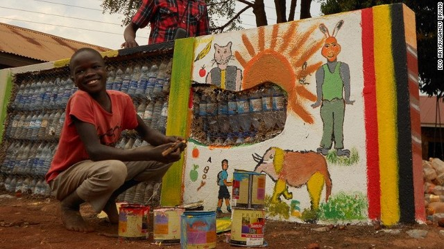 Ugandan eco-artist Ruganzu Bruno built an amusement park for children living in one of Kampala's slums.