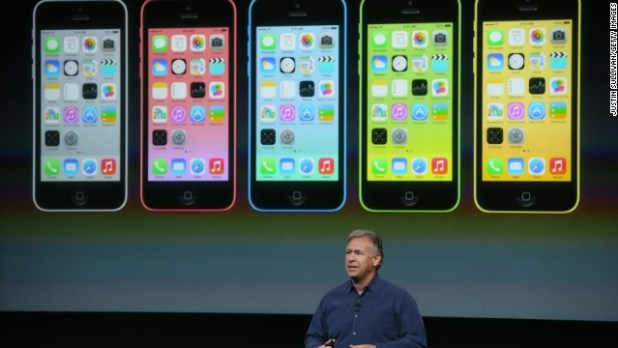 The cheaper iPhone 5C ($99) is, largely, an iPhone 5 with a plastic casing. It's available in five colors: green, blue, yellow, pink and white.