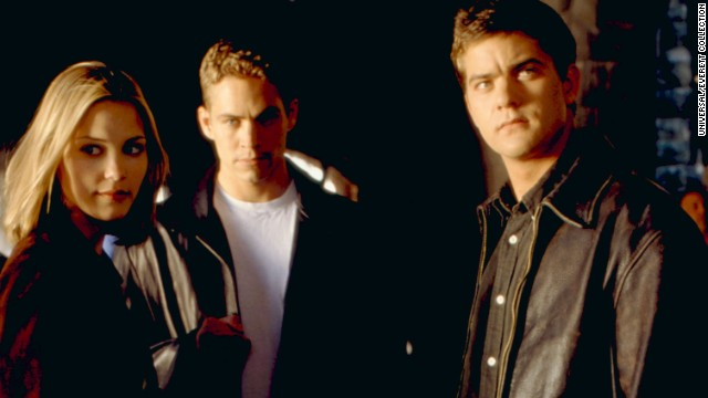 "Walker (c.) appears in ""Skulls"" with Leslie Bibb and Joshua Jackson in 2000."
