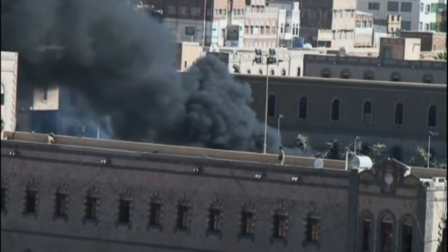This file photo shows the attack on the hospital at Yemen's Defense Ministry in the capital Sanaa on December 5.