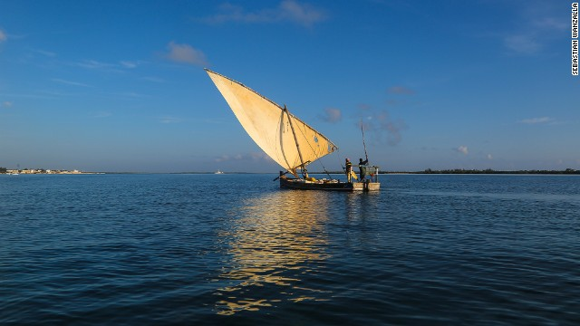 """Sebastian Wanzalla said his photo showed: """"Boatmen in a dhow heading home after collecting building stones from the neighboring island Manda next to Lamu Island."""""""