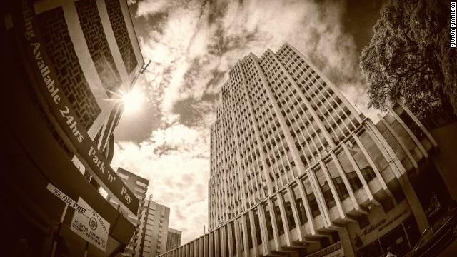 "Mutua Matheka's photo showing ""General Kago Street, looking up at the Eco bank towers."""