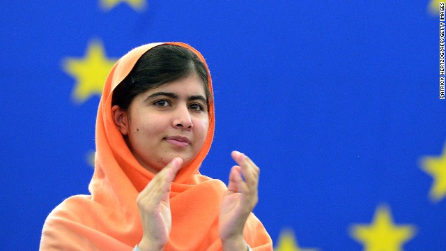 Malala Yousafzai, a Pakistani student who was shot in the head by the Taliban, advocates for the right of all girls to an education.