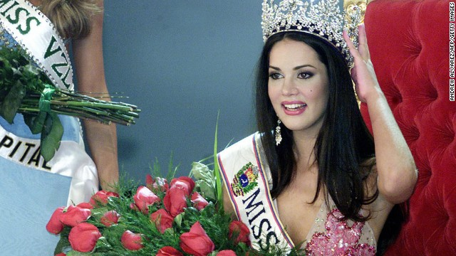Monica Spear poses after being elected Miss Venezuela, in Caracas, in 2004.