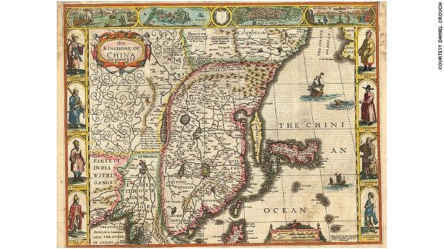 London-based map dealer Daniel Crouch shares a few unusual or rare maps from a recent exhibition in Hong Kong. According to Crouch, maps of BRIC nations (Brazil, Russia, India and China) are rising in popularity among map collectors. This 17th-century map of China is a double-page hand-colored engraved map published in 1665 by John Speed.