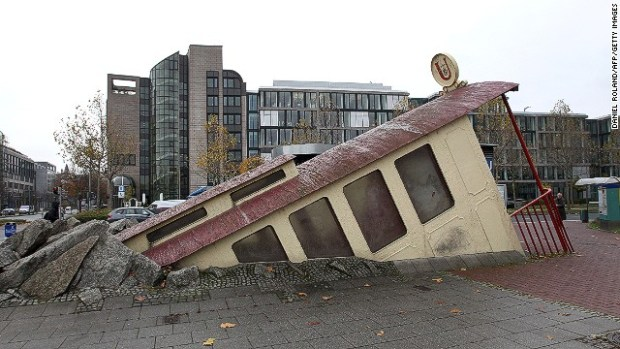 Like a reminder of the things whizzing around beneath your feet, Zbigniew Peter Pininski's design for Bockenheimer Warte in Frankfurt, Germany, suggests a subway car that went off the rails.