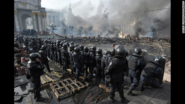 Riot police are out in force as protests continue in Kiev's Independence Square on Wednesday, February 19. Thousands of anti-government demonstrators have packed the square since November when President Viktor Yanukovych reversed a decision on a trade deal with the European Union and instead turned toward Russia.