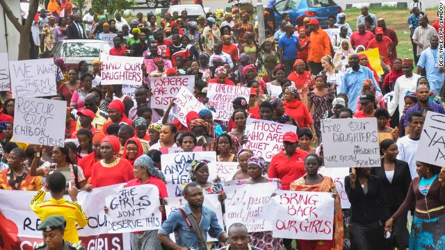 Nigerians protest over kidnapped schoolgirls
