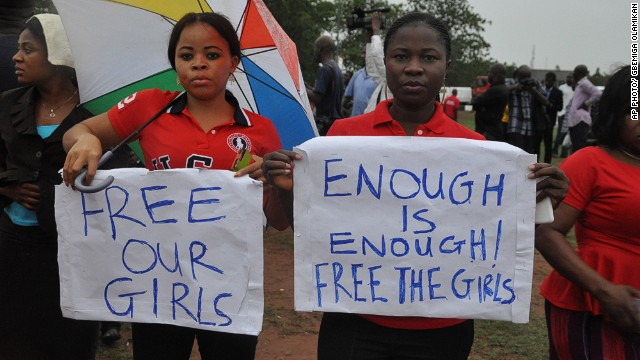 Protests to bring back the Nigerian schoolgirls. Image courtesy of CNN.