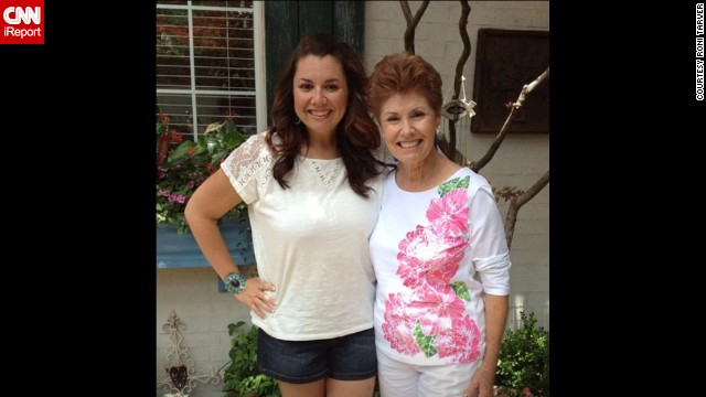 "July 2013: Tarver and her mom, Vicki Crow, who was a full-time teacher and aerobics instructor. ""I had just started being able to purchase clothing in the women's section that was not plus sized. When I tried this shirt on and it fit, and it wasn't an XL, I cried."""