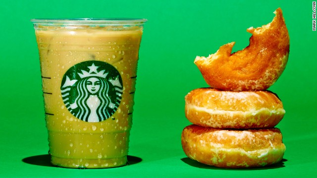 <strong>Iced coffee: Starbucks Iced Flavored Latte. </strong><!-- --> </br>A Grande Starbucks Iced Flavored Latte with 2% milk and your choice of syrup has about 28 grams of sugar. The same amount of sugar is in 2.5 Krispy Kreme donuts.