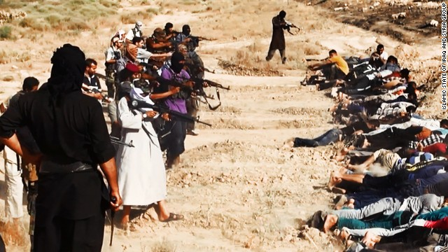 Members of ISIS prepare to execute soldiers from Iraq's security forces in this image, one of many reportedly posted by the militant group online. CNN cannot independently confirm the authenticity of the images.