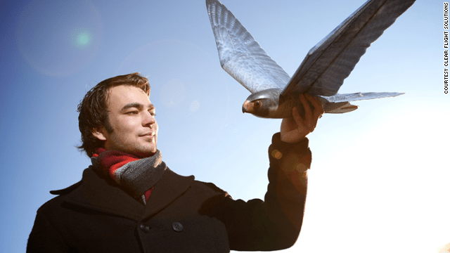 Founder Nico Nijenhuis with a robird.