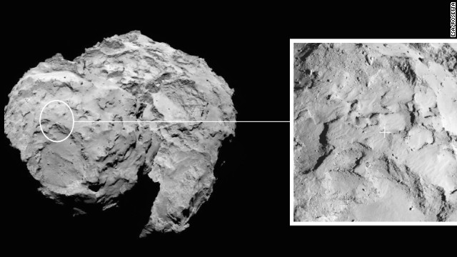 After a 10-year chase taking it billions of miles across the solar system, the European Space Agency's Rosetta spacecraft became the first probe to orbit a comet after arriving at its destination on August 6. The spacecraft recently took this image of comet 67P/Churyumov-Gerasimenko. In November, Rosetta will deploy a robotic lander to the comet's surface -- something that also has never been done before. The box on the right shows where the lander will touch down.