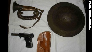 Leo Foster\'s bugle, helmet and gun were among the items in his war chest.