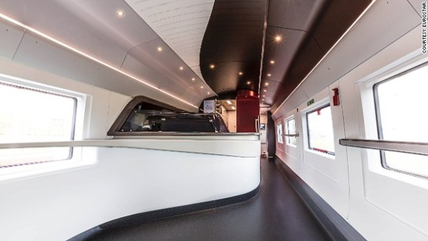 """There is also a newly designed buffet car. Rounded edges and a cool, white color scheme lend the car an air of """"chic"""", according to Eurostar chief executive Nicolas Petrovic."""