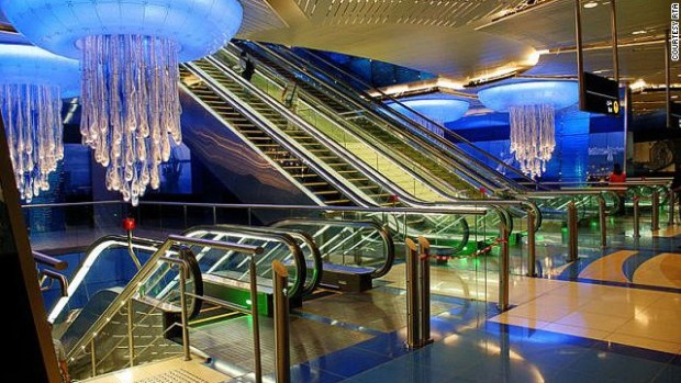 Jellyfish chandeliers add to the water theme of the Khalid Bin Al Waleed station beneath Dubai's BurJuman shopping center.