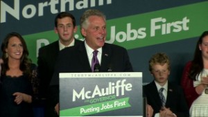 McAuliffe, after winning the governor's mansion in 2013