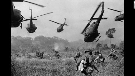 This 1965 photo by Horst Faas shows U.S. helicopters protecting South Vietnamese troops northwest of Saigon