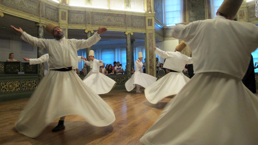 "The Dervishes turn as one arm reaches to the sky ""taking from God"" and the other ""gives life to the earth,"" says Celaleddin Loras, a Mevlevi Sheikh, or master of the order."