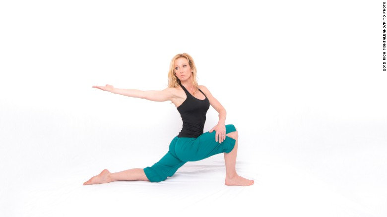 <strong>Kneeling lunge with twist and reach: </strong>This promotes proper pelvic/hip function, increases hip flexor and leg flexibility, strengthens the core, opens the chest, and enhances shoulder and mid-back mobility.