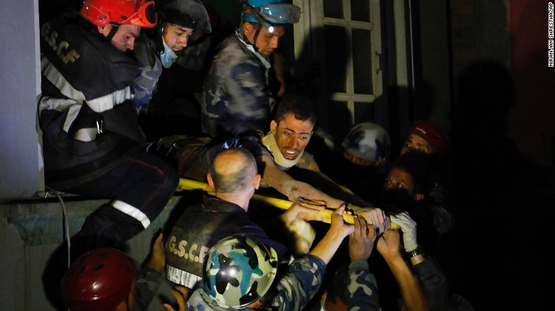 "A man is freed from the ruins of a hotel by French rescuers in the Gangabu area of Kathmandu, Nepal, on Tuesday, April 28. Reuters identified the man as Rishi Khanal. A magnitude-7.8 earthquake centered less than 50 miles from Kathmandu <a href=""http://www.cnn.com/2015/04/28/asia/nepal-earthquake/index.html"">rocked Nepal with devastating force</a> Saturday, April 25. The earthquake and its aftershocks have turned one of the world's most scenic regions into a panorama of devastation."