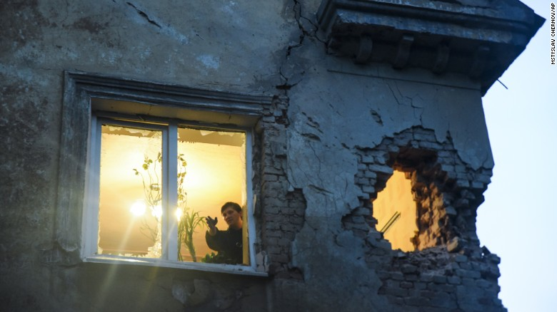 """Shelling between Ukrainian troops and pro-Russian rebels leaves damage in Donetsk, Ukraine, on Monday, June 1. <a href=""""http://www.cnn.com/2015/06/03/world/ukraine-violence/index.html"""">Fighting continues in eastern Ukraine</a> despite a fragile ceasefire agreed upon in February. More than 6,400 people have been killed in the conflict since April 2014, the United Nations says."""