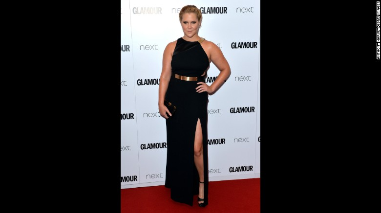 "In April, <a href=""https://www.instagram.com/p/BD0sVf9KUCy/?taken-by=amyschumer&hl=en"" target=""_blank"">Amy Schumer posted an Instagram photo </a>that she said was of Glamour magazine including her with plus-size performers. It's not the first time she's been categorized as such. In February 2015, she shot back at a critic who accused her of being overweight by <a href=""https://pbs.twimg.com/media/B9rSuqBIQAA66as.jpg"" target=""_blank"">posing topless in her underwear. </a>In June, she <a href=""http://www.mtv.com/news/2177647/amy-schumer-glamour-award-acceptance/"" target=""_blank"">accepted a Glamour Award</a> in London and said in her speech, ""I'm probably like 160 pounds right now, and I can catch a d*** whenever I want. That's the truth. It's not a problem."""