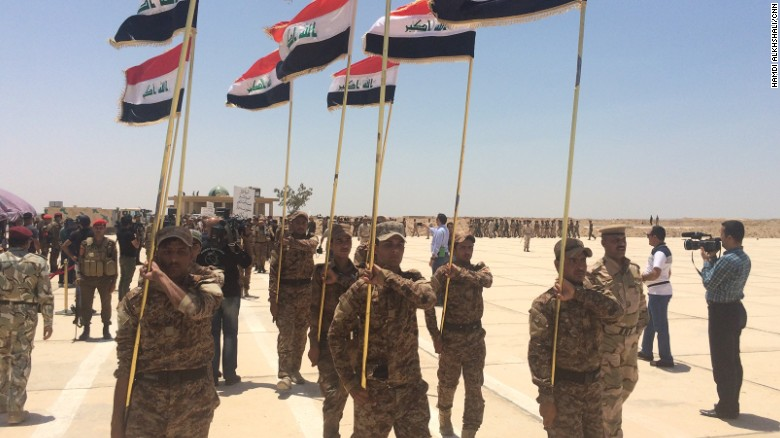 Sunni volunteers marching during their graduation ceremony at Al-Taqaddum Air Base, Habbaniya, Iraq.