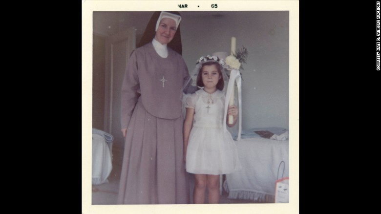 Caroline Kennedy with a nun in March 1965.