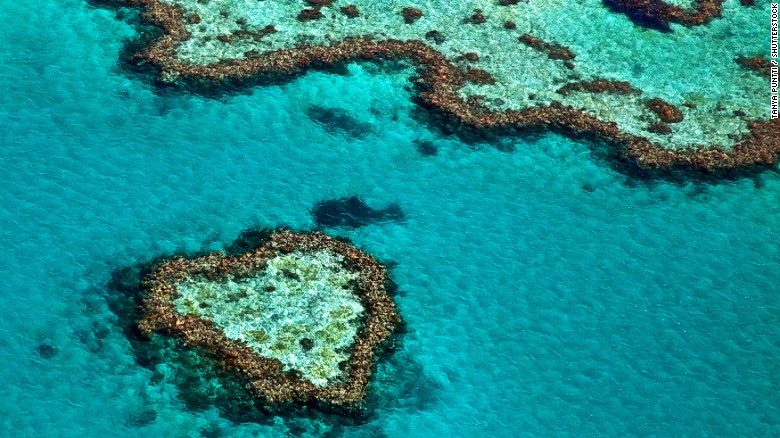 The Great Barrier Reef in Australia seen from the air.