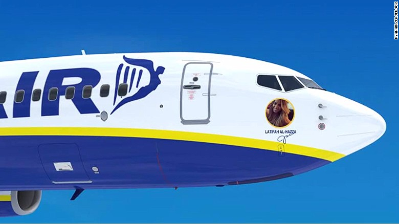 In July 2015, Irish airline Ryanair ran a competition for 30 lucky Facebook fans to have planes named after them, and their likeness put on the side of the plane (mockup pictured).