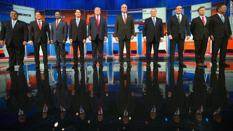 Republican presidential candidates from left, Chris Christie, Marco Rubio, Ben Carson, Scott Walker, Donald Trump, Jeb Bush, Mike Huckabee, Ted Cruz, Rand Paul, and John Kasich.