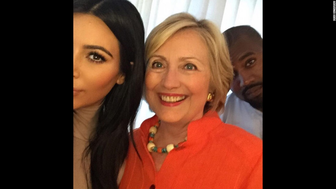 "Television personality Kim Kardashian West, left, poses with her husband, Kanye West, and presidential candidate Hillary Clinton. ""I got my selfie!!! I really loved hearing her speak & hearing her goals for our country!"" she <a href=""https://instagram.com/p/6EUJcIuSw9/"" target=""_blank"">wrote on Instagram</a> on Thursday, August 6."