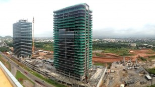 The two towers nearing completion.