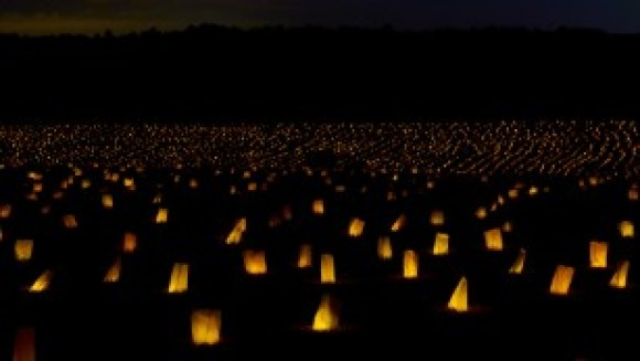 Memorial illumination at the stockade site on Friday, September 18.