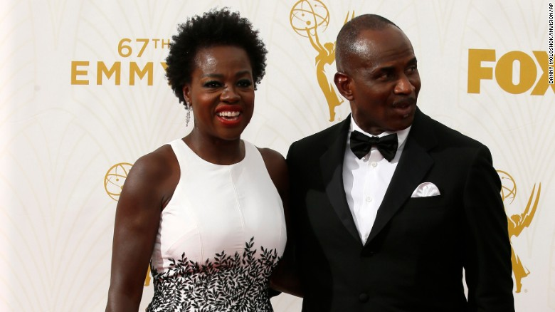 Actress Viola Davis and her husband, Julius Tennon, walk the red carpet before the Emmy Awards ceremony on Sunday, September 20.