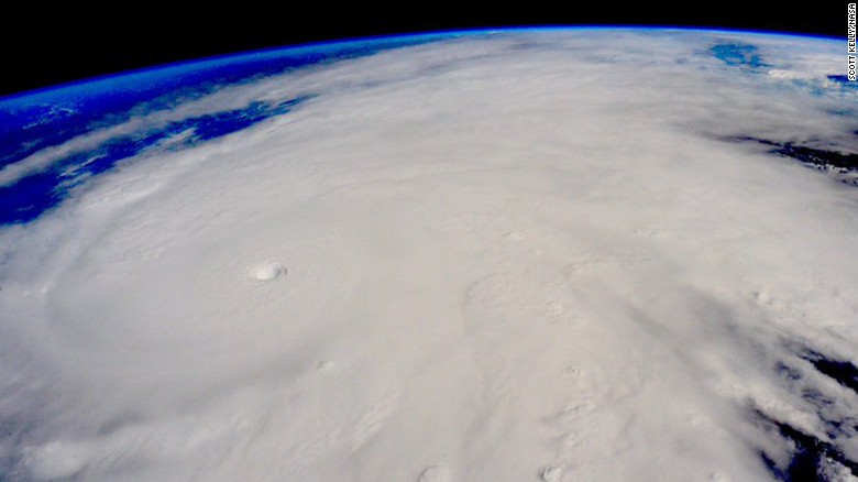 """Hurricane Patricia approaches the Pacific coast of Mexico in this photo that astronaut Scott Kelly <a href=""""https://twitter.com/StationCDRKelly/status/657618739492474880"""" target=""""_blank"""">tweeted</a> from the International Space Station on Friday, October 23. Patricia is the strongest hurricane ever recorded, with sustained winds of 200 mph."""