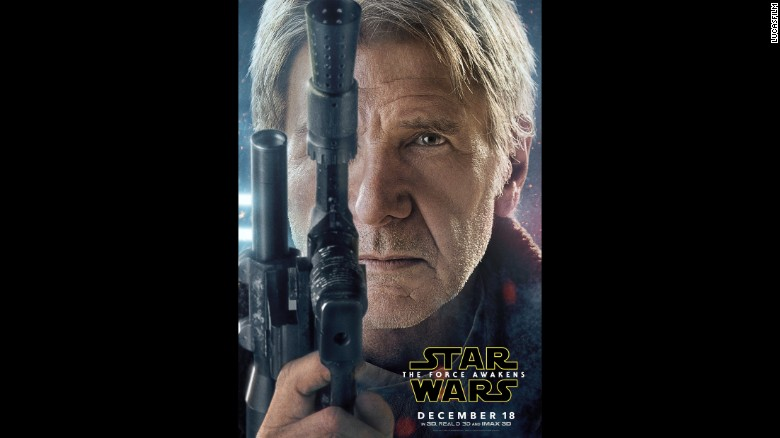 "Another big jolt of ""Star Wars"" mania came on Wednesday, November 4, when Lucasfilm and Disney released character posters for ""Star Wars: The Force Awakens,"" including this close-up of Harrison Ford as Han Solo."