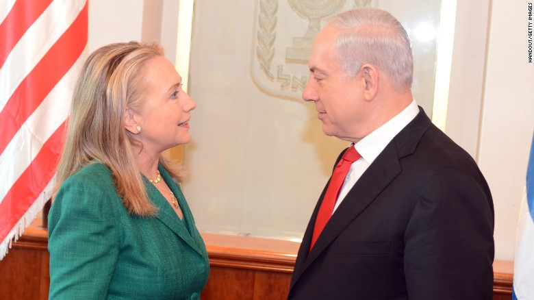 Then-U.S. Secretary of State Hillary Clinton meets with Israeli Prime Minister Benjamin Netanyahu in Jerusalem on November 21, 2012.<br /><br />Clinton had joined international efforts to broker a ceasefire amid Israeli airstrikes and Hamas rocket attacks.