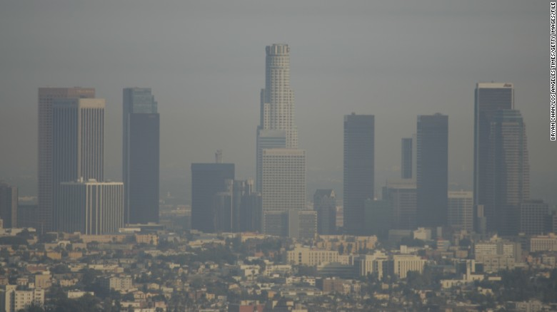 SMOG Deaths from sooty smog in California may be two or three times higher than previous estimates, based on a recent USC study that examined the risk of such deaths in the Los Angeles basin. View of downtown Los Angeles from Elysian Park over the 101 freeway.  (Photo by Bryan Chan/Los Angeles Times via Getty Images)